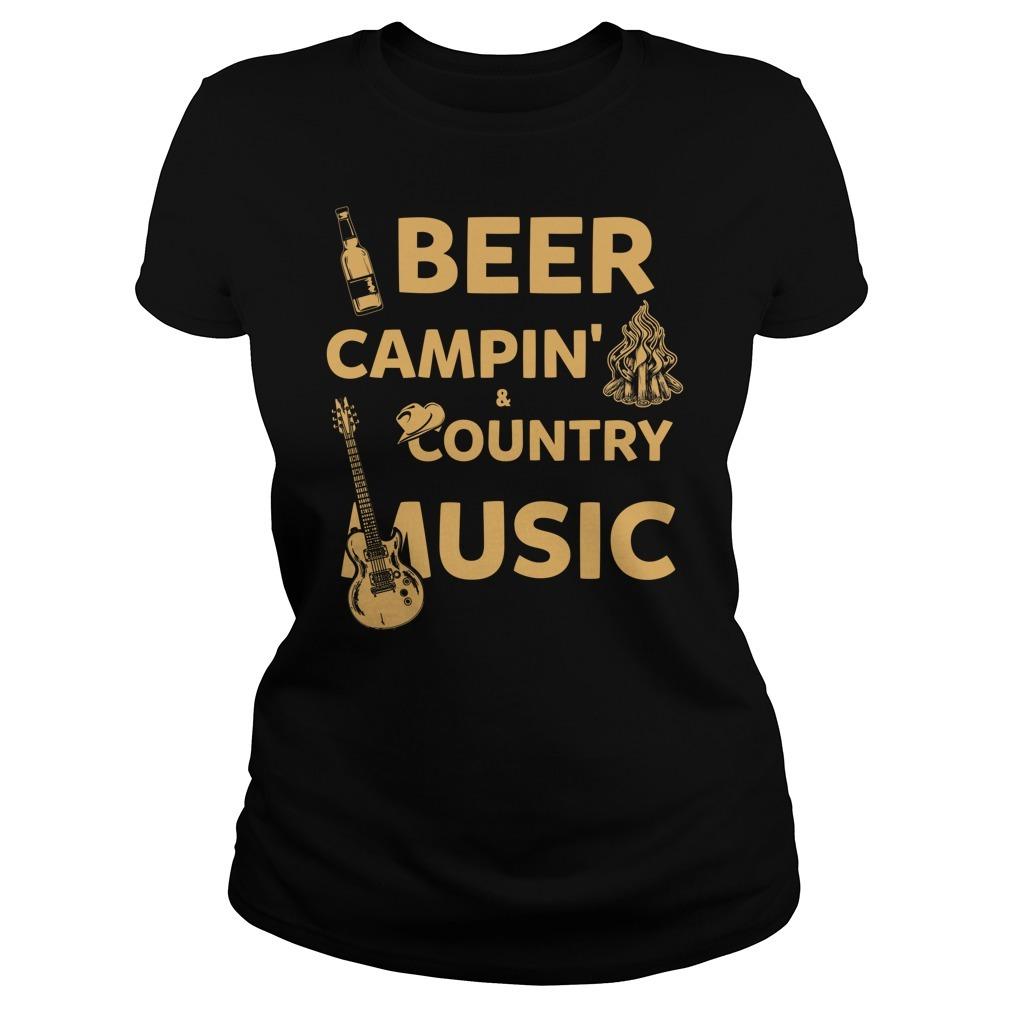 Beer camping country music Ladies Tee