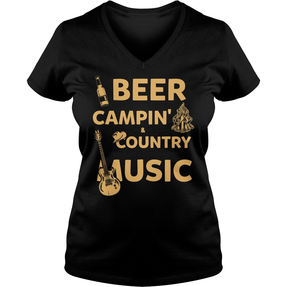 Beer camping country music V-neck T-shirt