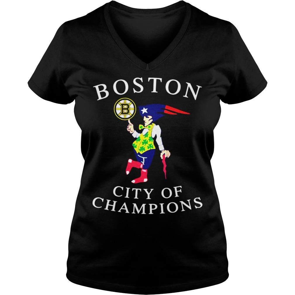 Boston city of champions V-neck T-shirt