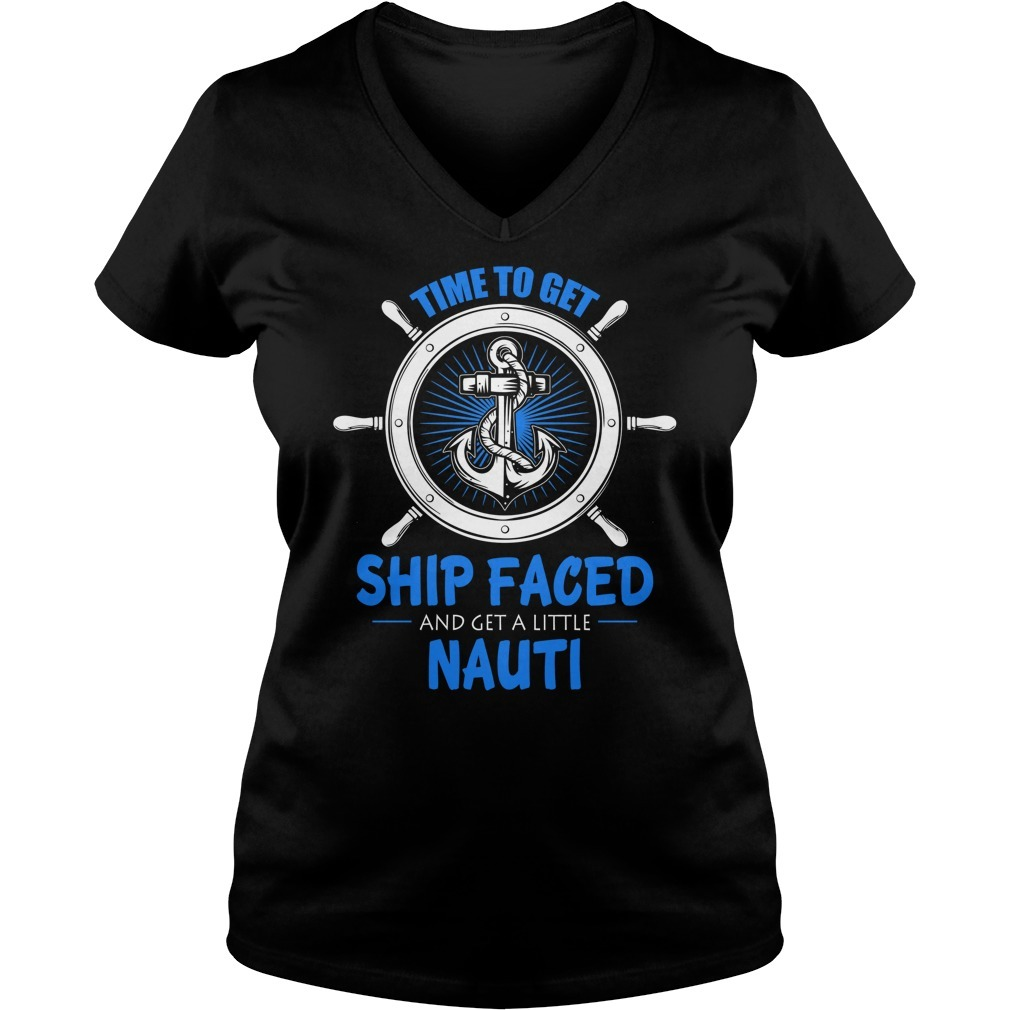 Cruise time to get ship faced and a get little nauti V-neck T-shirt