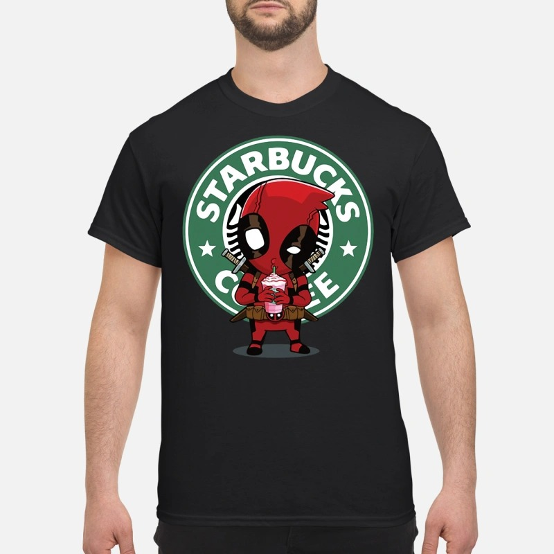 Deadpool drinking Starbucks coffee shirt