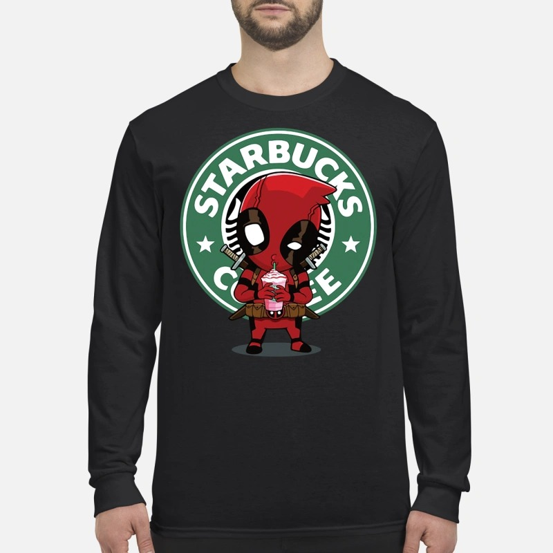 Deadpool drinking Starbucks coffee Longsleeve Tee
