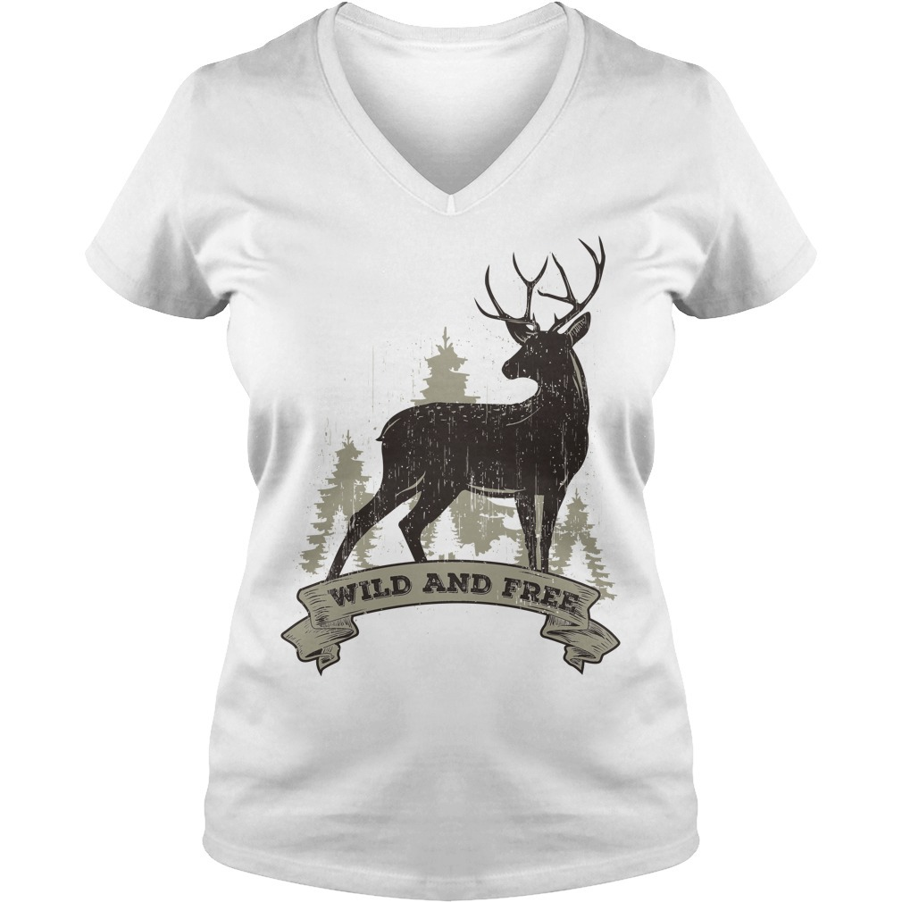 Deer wild and free V-neck T-shirt