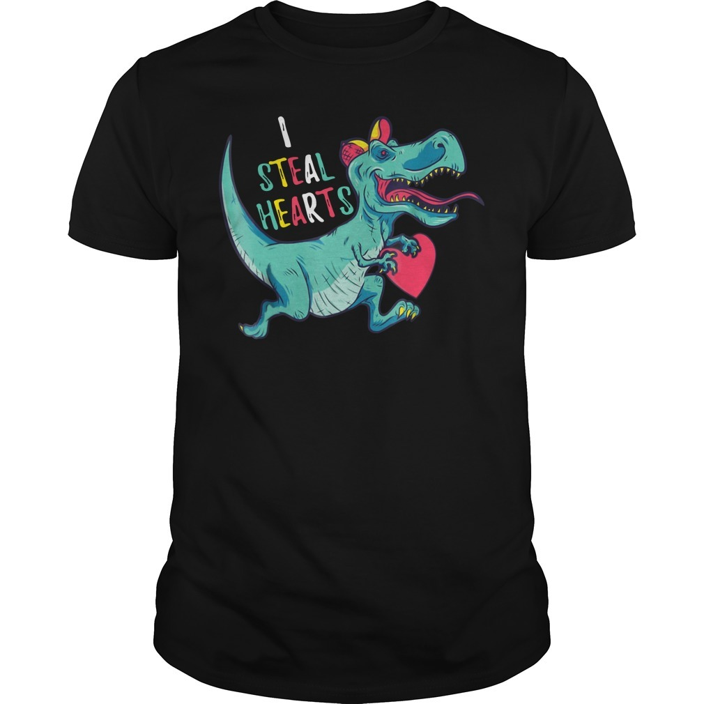 Dinosaur I steal hearts valentines day shirt