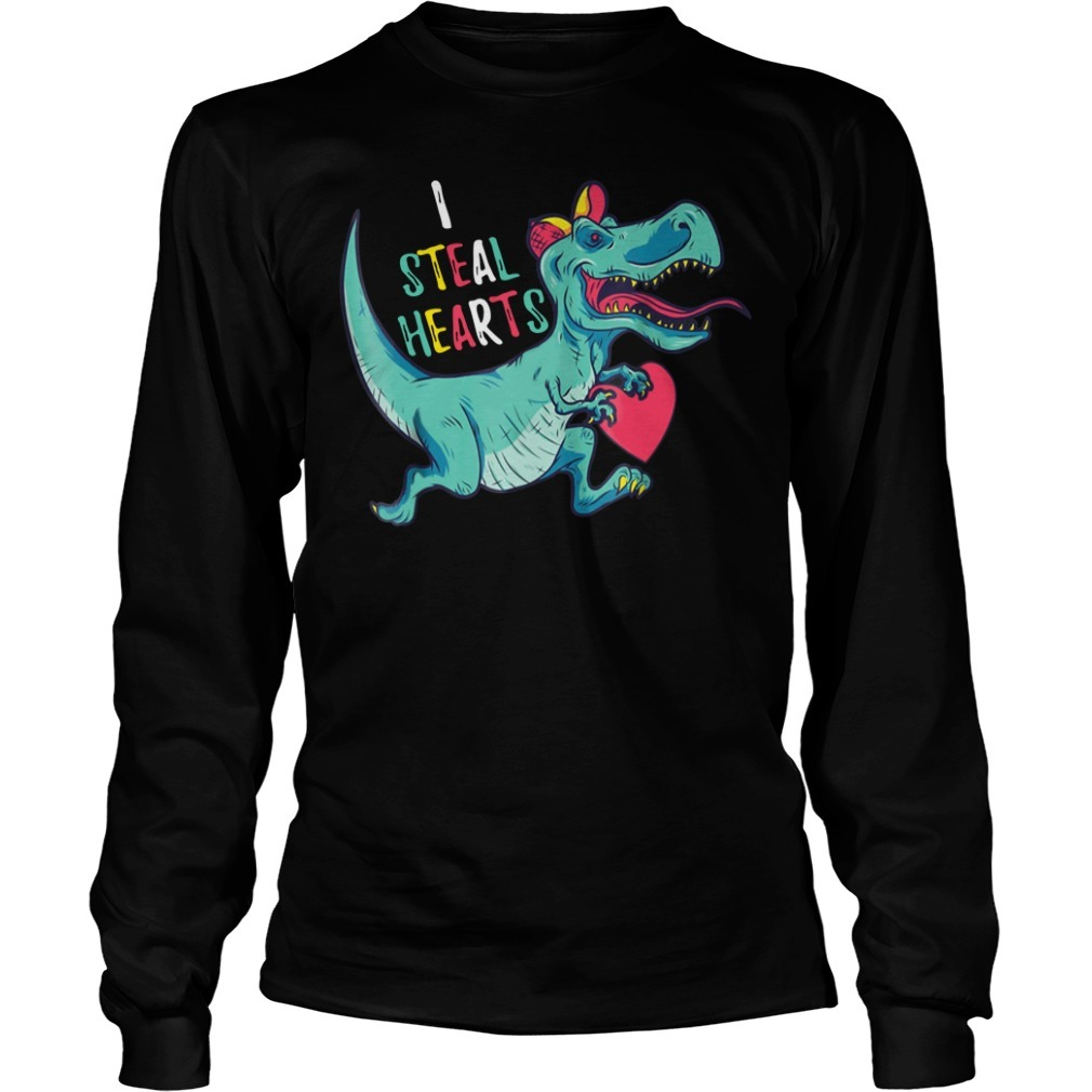 Dinosaur I steal hearts valentines day Longsleeve Tee