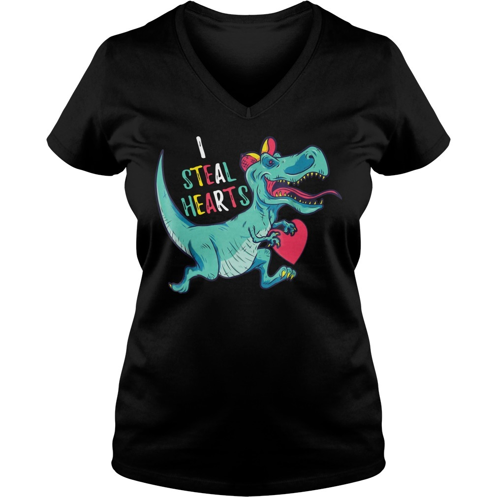 Dinosaur I steal hearts valentines day V-neck T-shirt