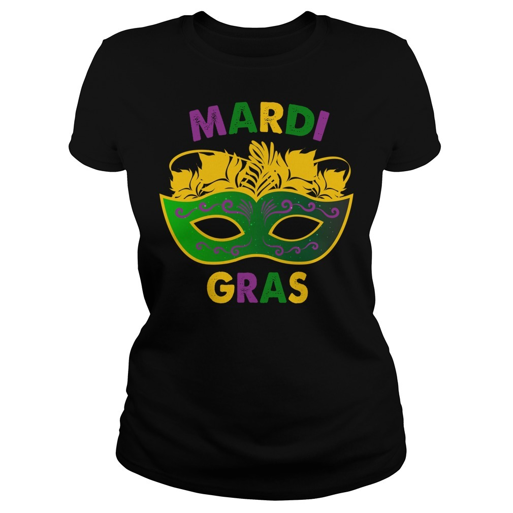 Mardi Gras day mask Ladies Tee