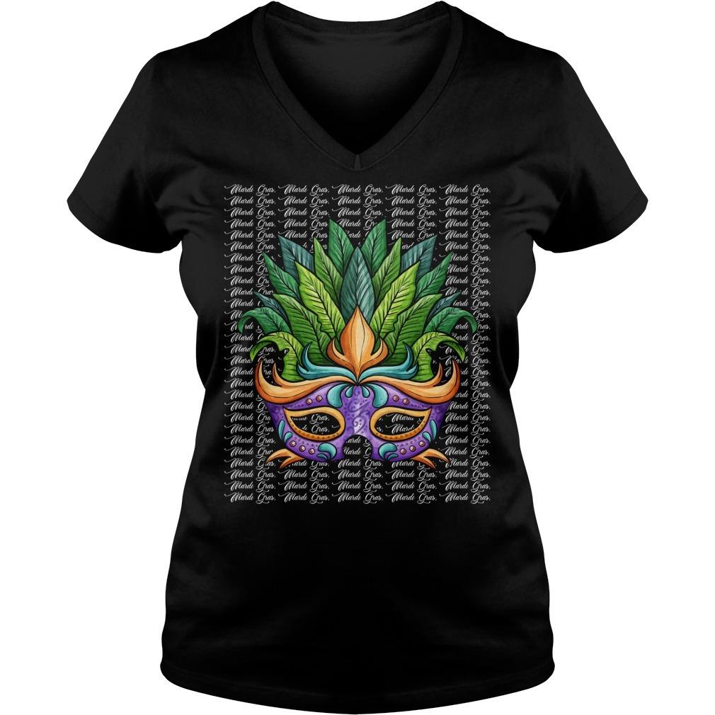 Mardi Gras mask for dark V-neck T-shirt