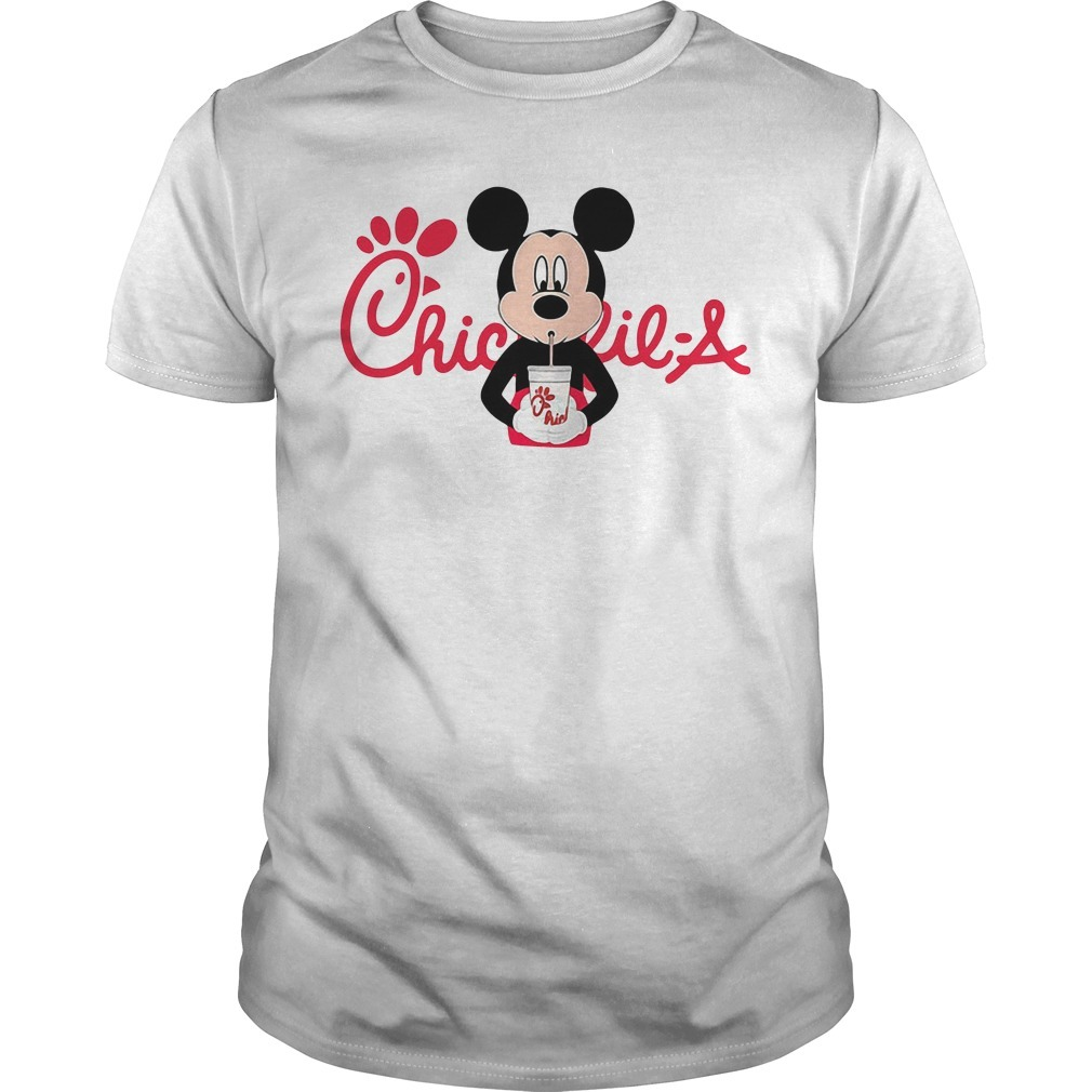 Mickey mouse drinking Chick fil a shirt