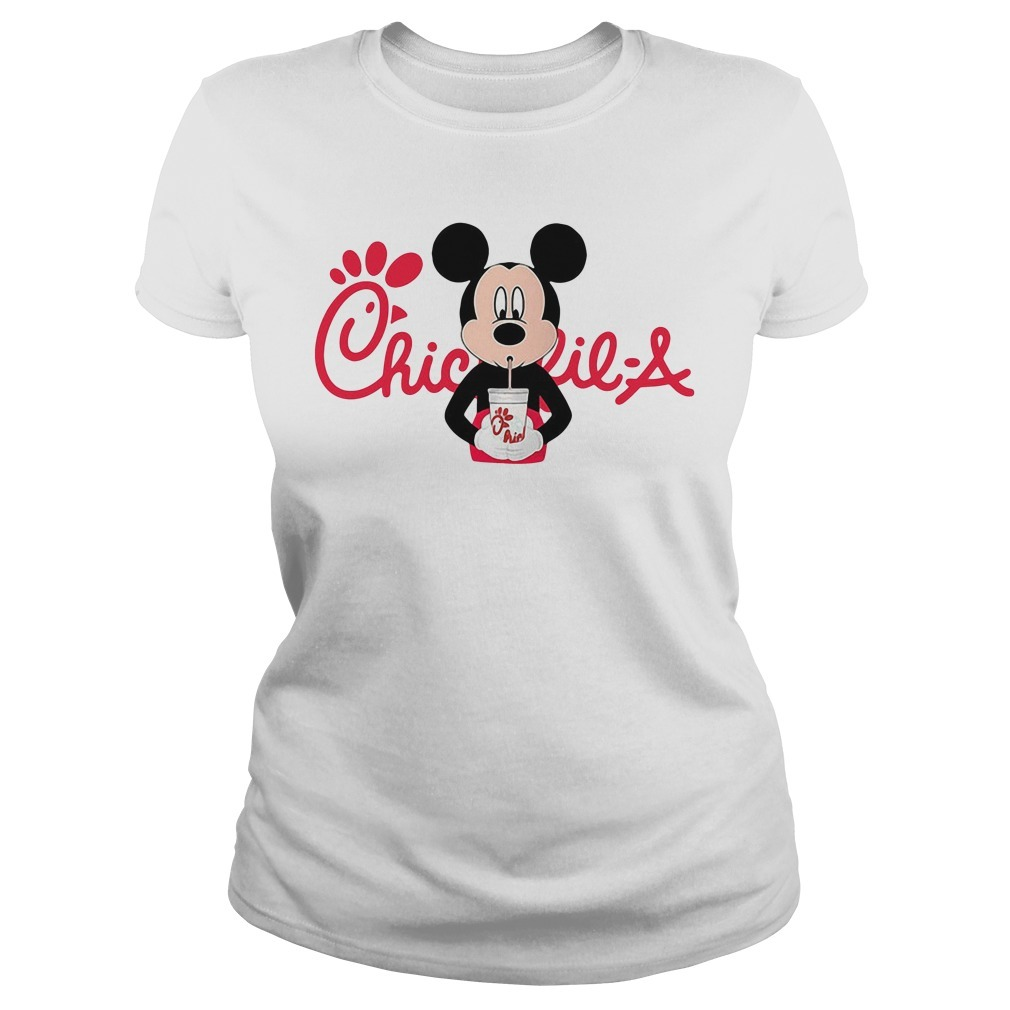 Mickey mouse drinking Chick fil a Ladies Tee