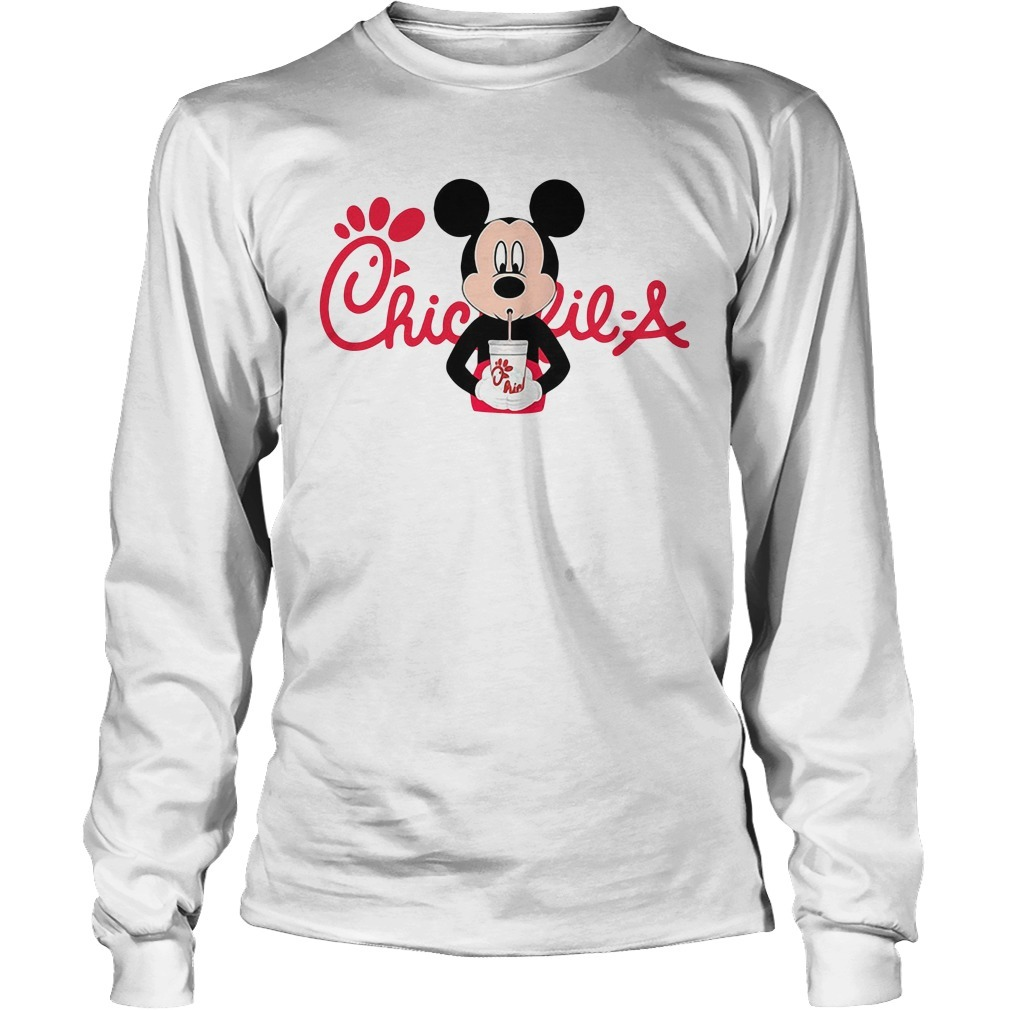 Mickey mouse drinking Chick fil a Longsleeve Tee