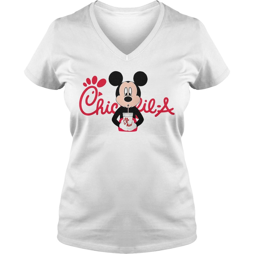 Mickey mouse drinking Chick fil a V-neck T-shirt
