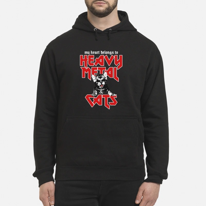 My heart belongs to heavy metal and cats Hoodie