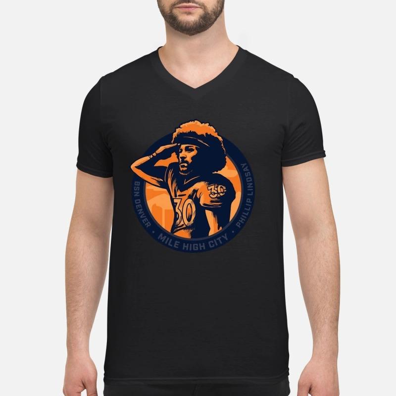 Phillip Lindsay Mile high salute V-neck T-shirt