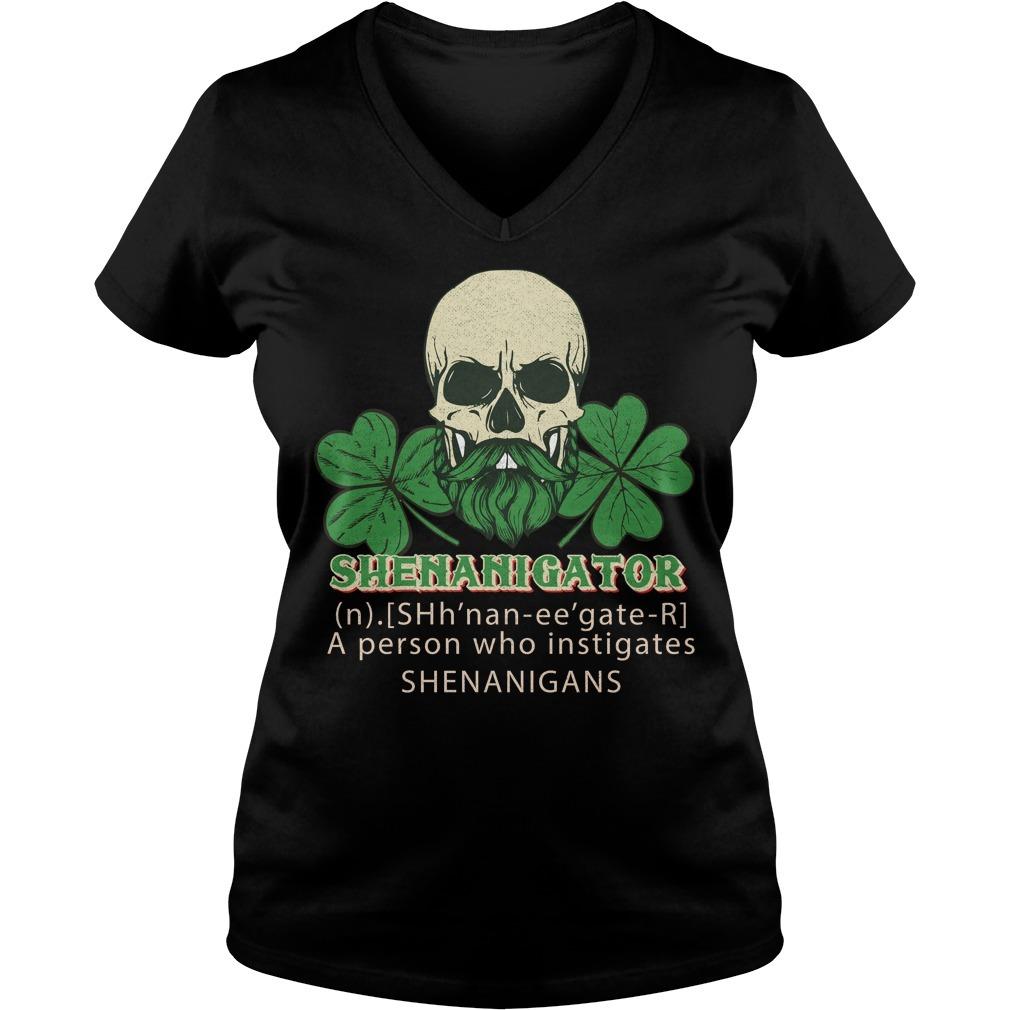 Shenanigator definition instigates shenanigans St Patrick V-neck T-shirt