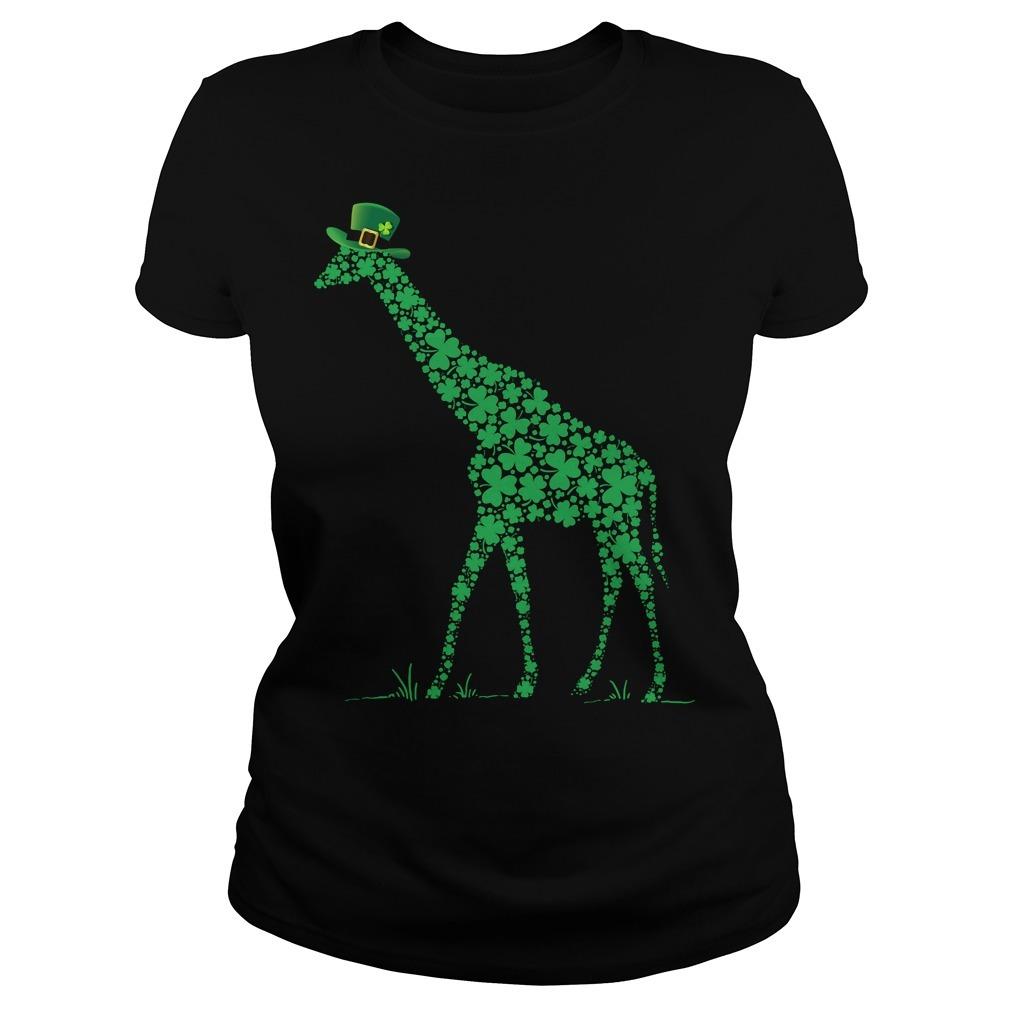 St Patrick's day giraffe Ladies Tee