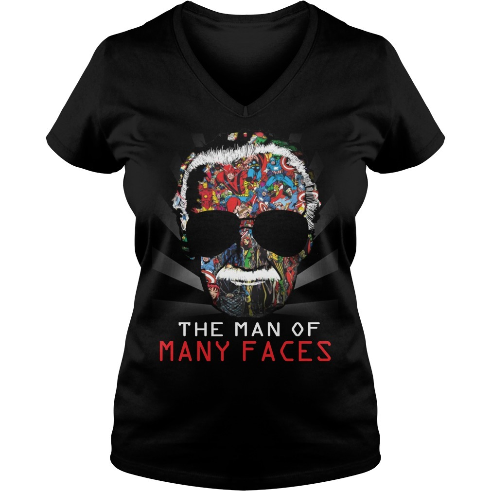 Stan Lee man of many faces V-neck T-shirt