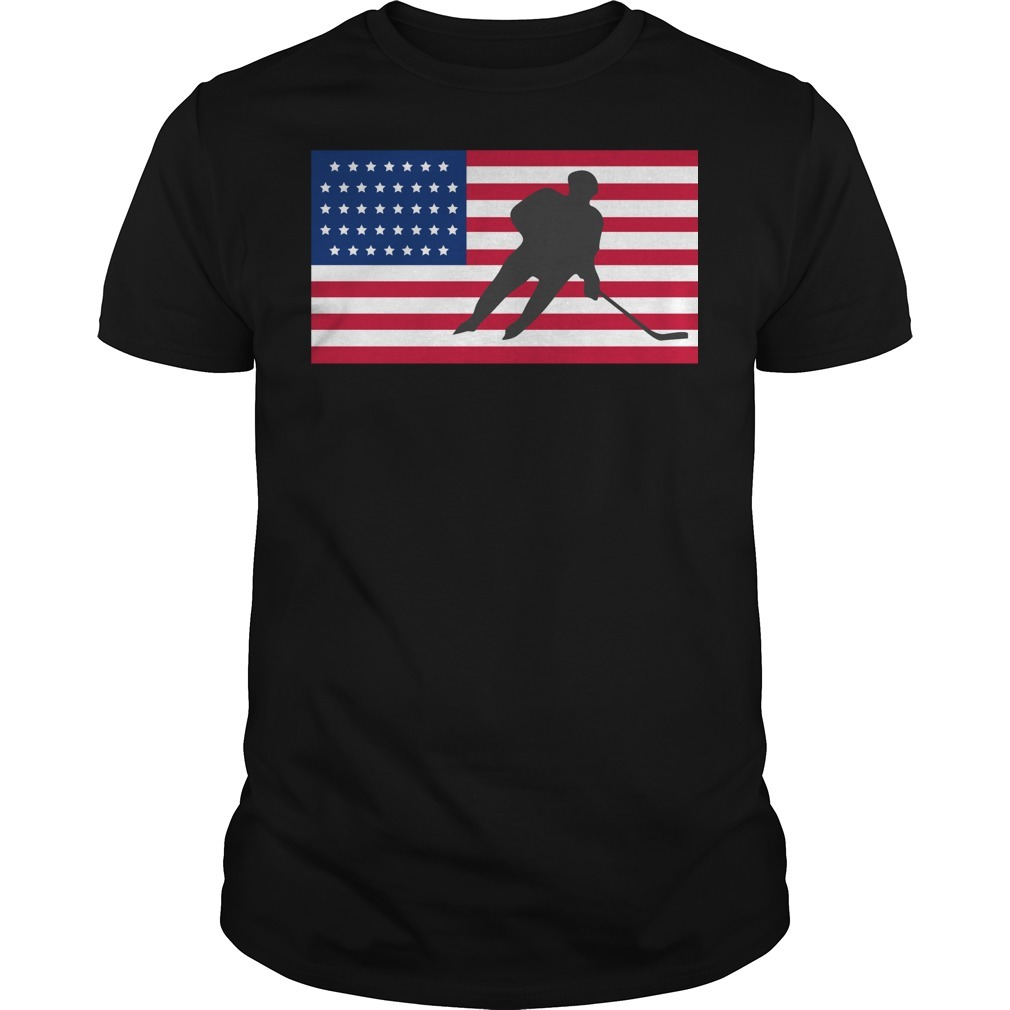 USA American flag hockey cool ice skating shirt