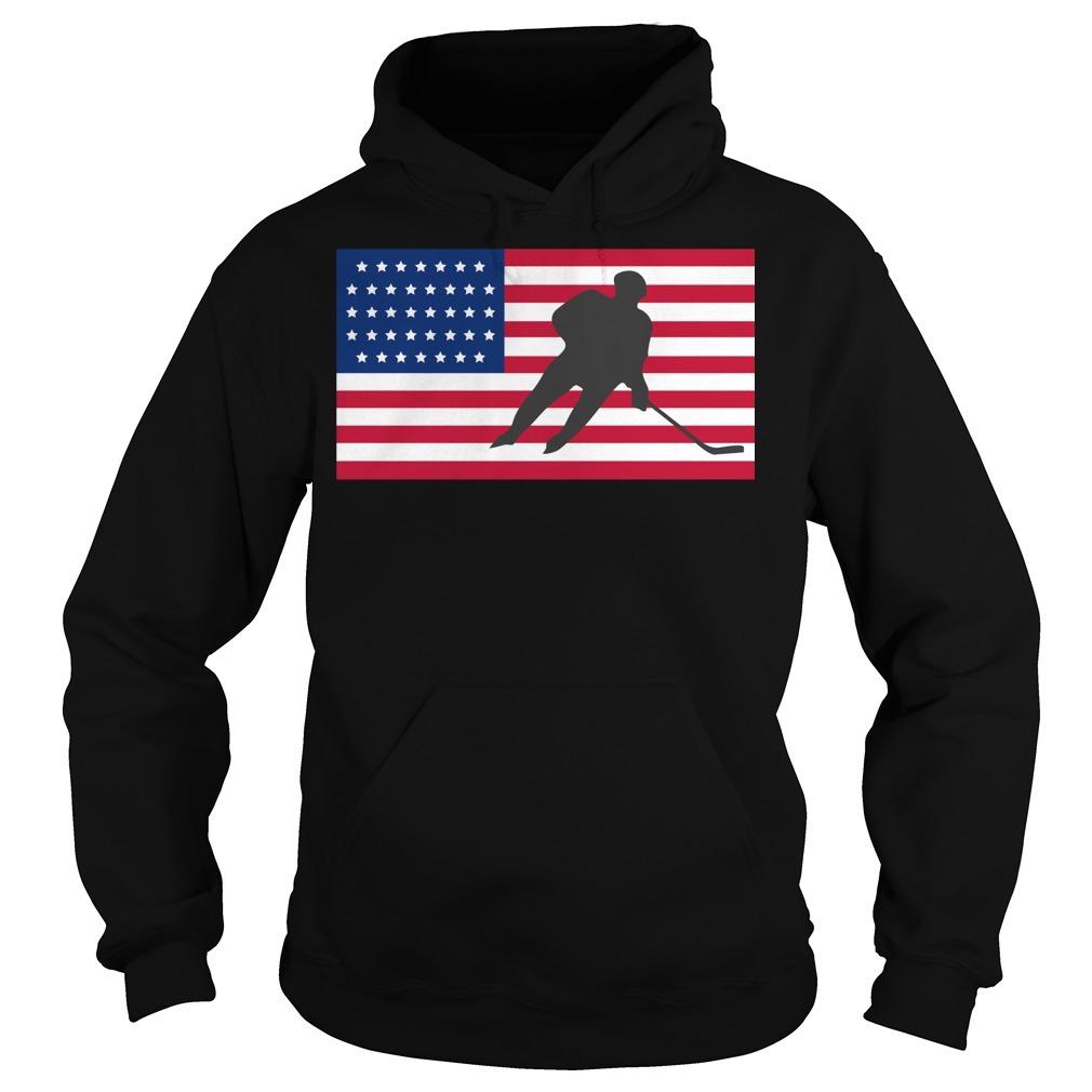 USA American flag hockey cool ice skating Hoodie