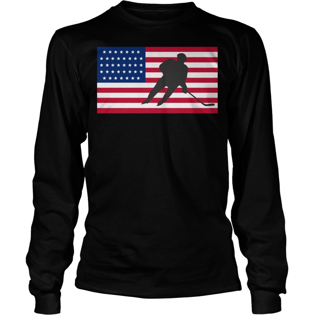 USA American flag hockey cool ice skating Longsleeve Tee