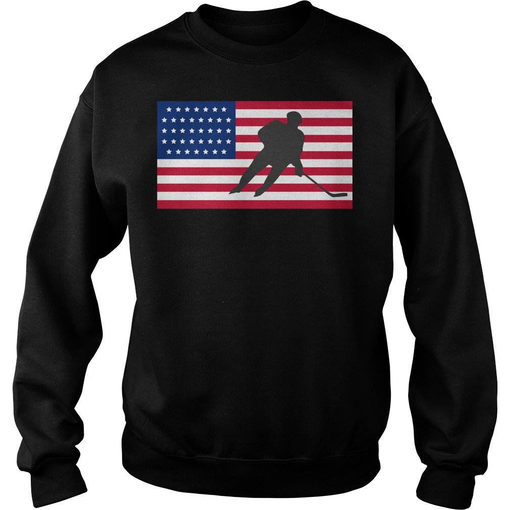 USA American flag hockey cool ice skating Sweater