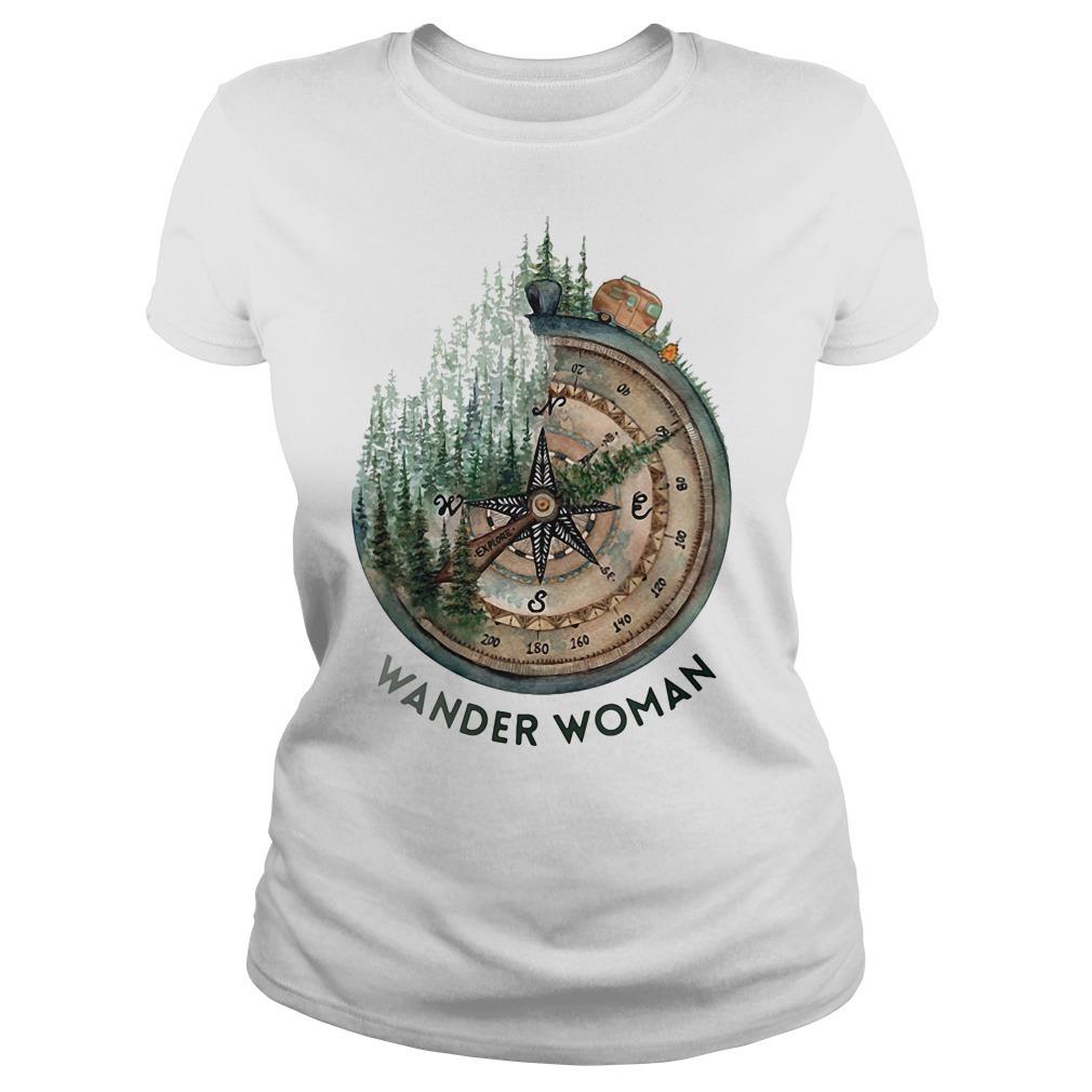 Wander woman loves camping Ladies Tee