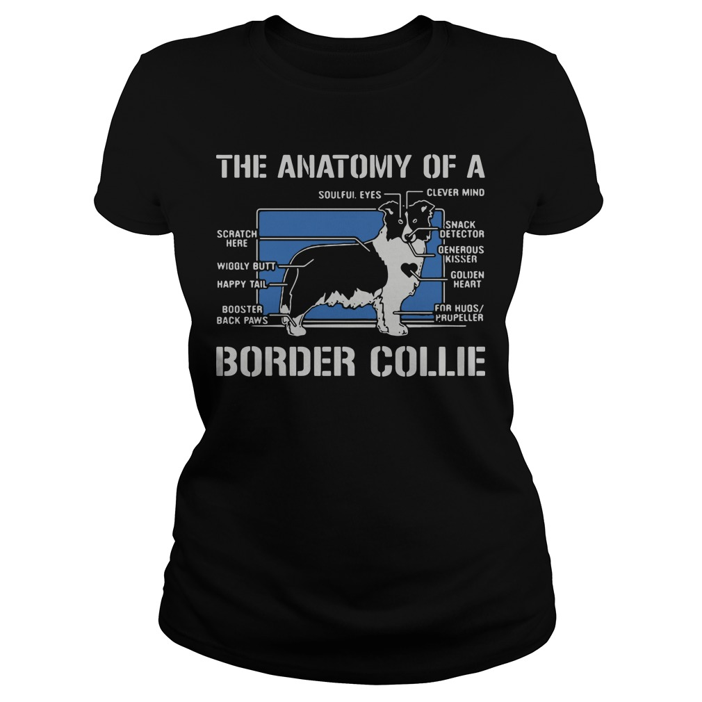 The anatomy of a border collie dog Ladies tee