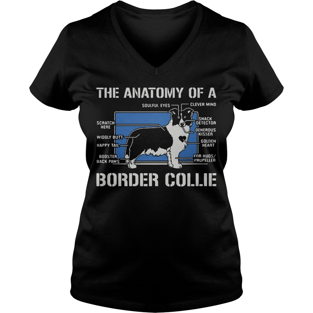 The anatomy of a border collie dog V-neck t-shirt
