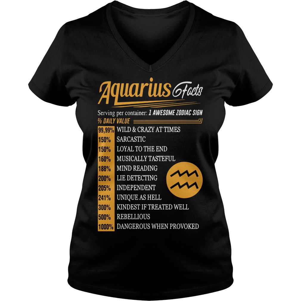 Aquarius facts serving per container I awesome zodiac sign V-neck t-shirt