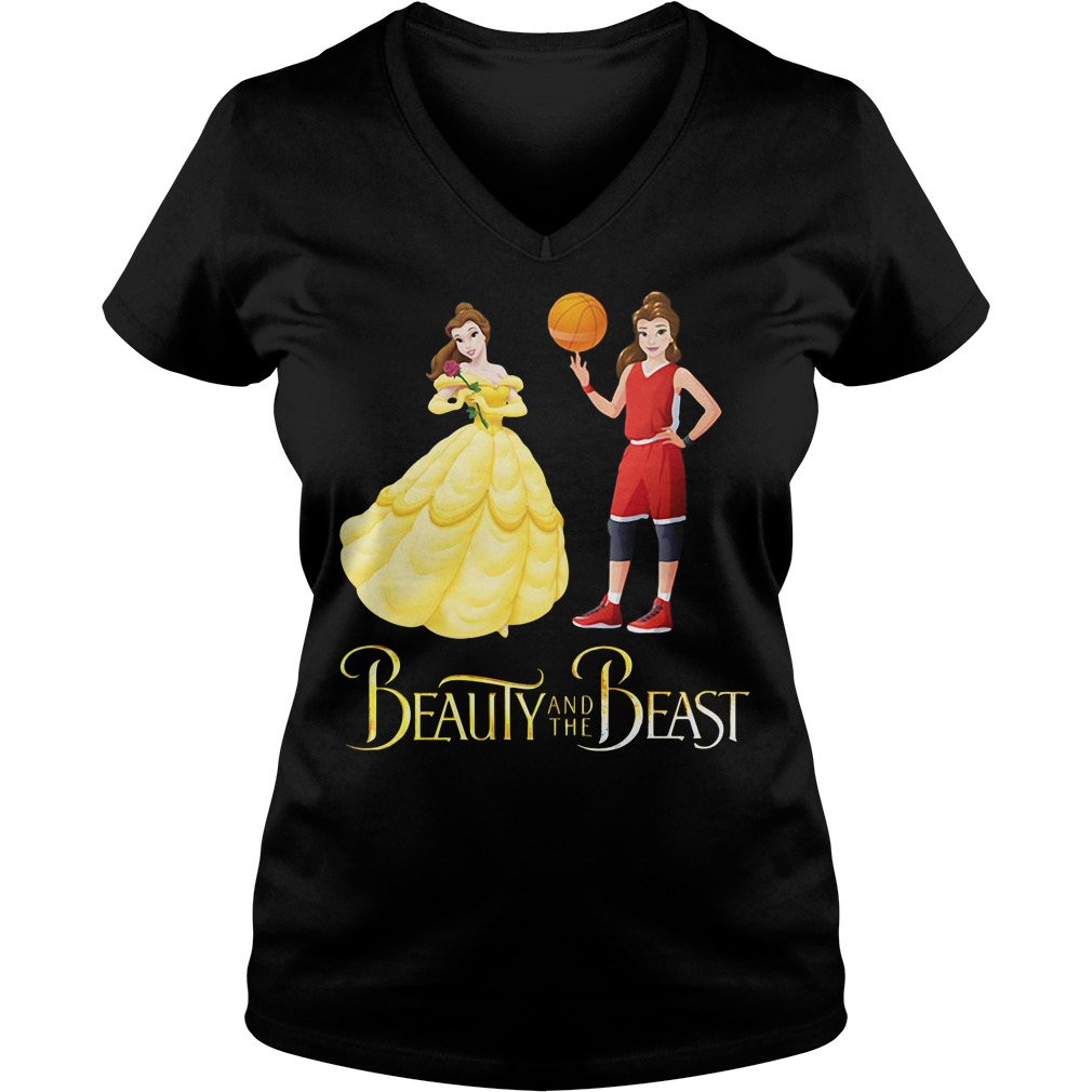 Beauty and the Beast Belle basketball V-neck t-shirt