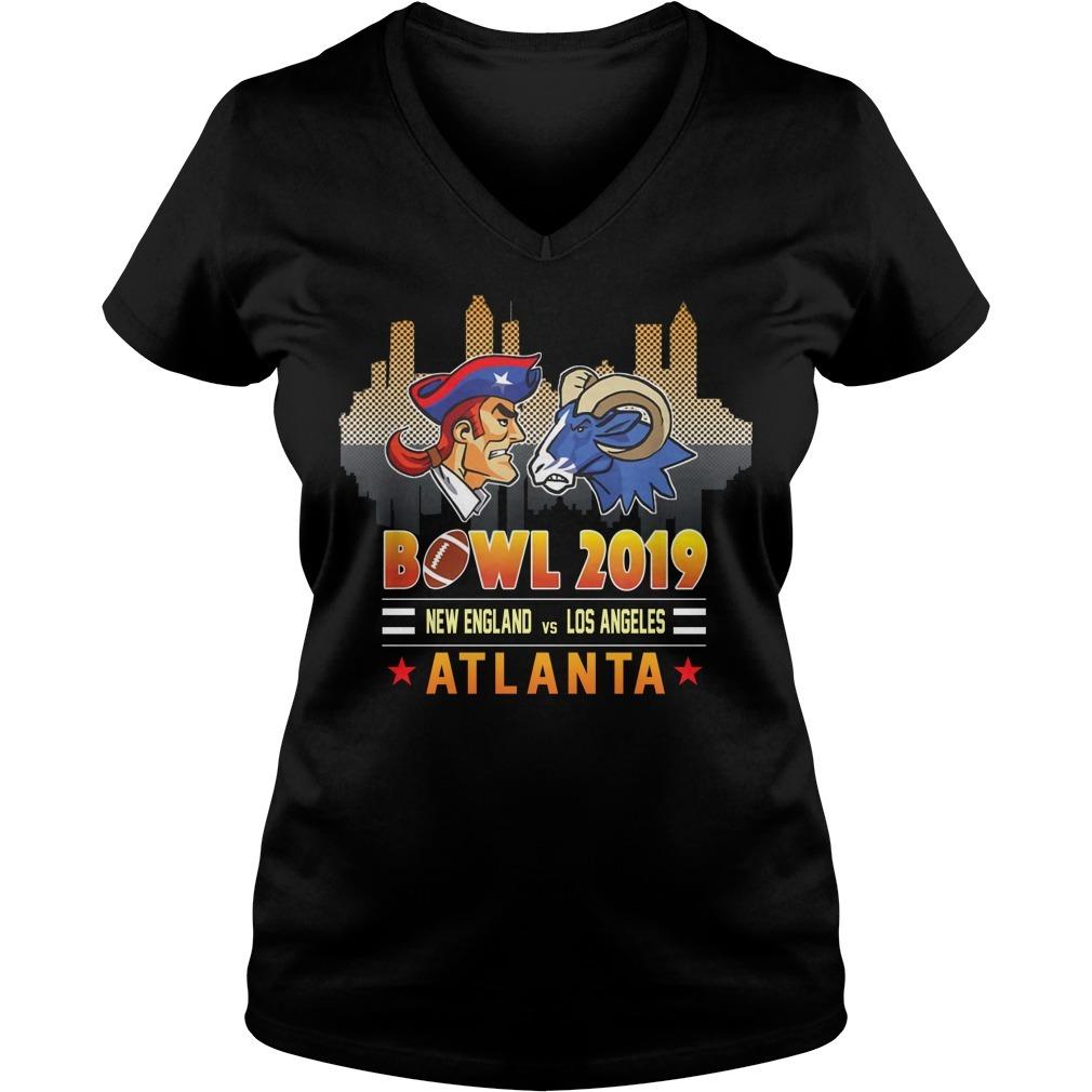 Bowl 2019 New England and Los Angeles Atlanta V-neck T-shirt