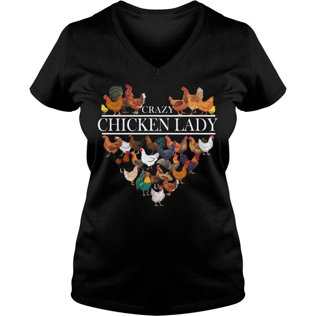 Crazy chicken lady V-neck T-shirt