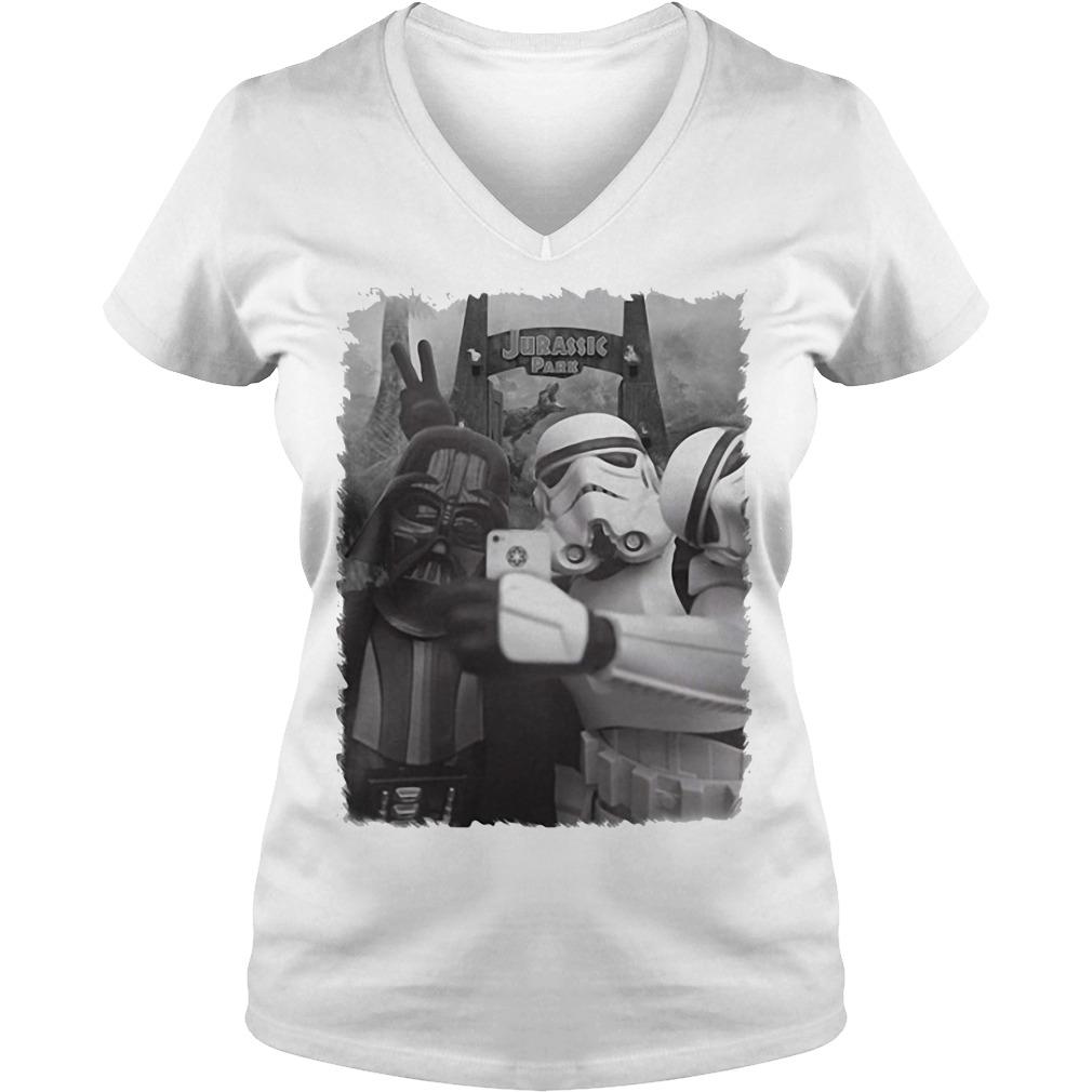 Darth Vader and Stormtrooper in Jurassic Pass V-neck t-shirt
