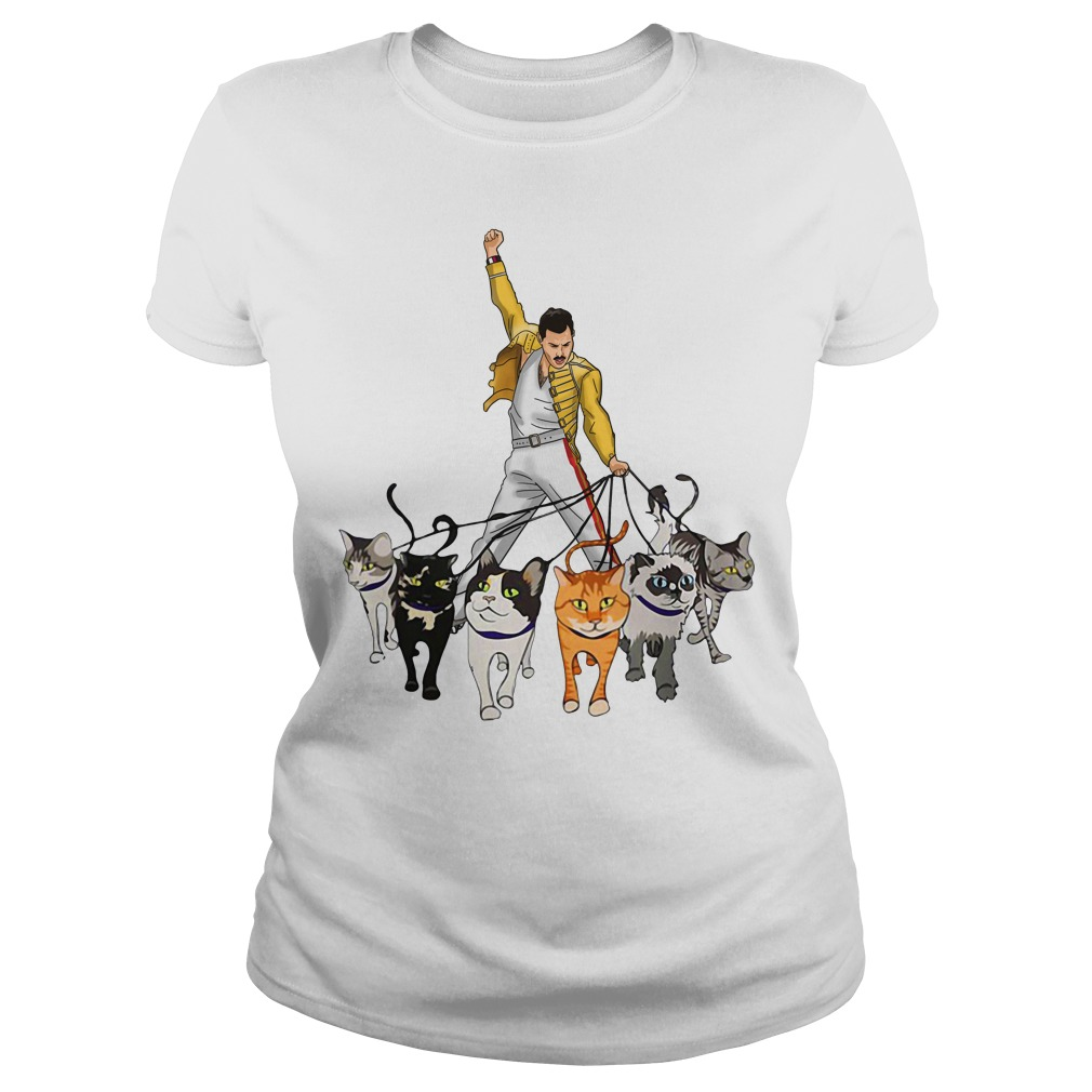Freddie Mercury and cats Ladies tee