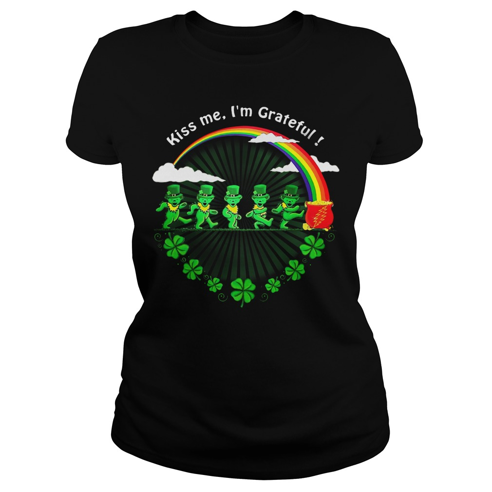 Green Bears Kiss Me I'm Grateful St Patrick's Day Ladies tee