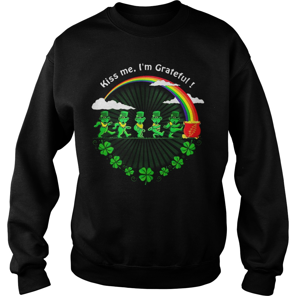 Green Bears Kiss Me I'm Grateful St Patrick's Day Sweater