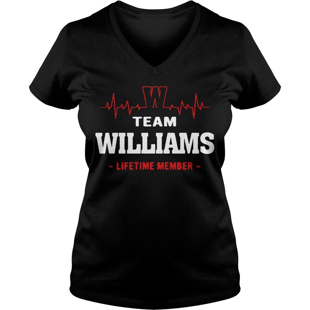 Heart beat team williams lifetime member V-neck t-shirt