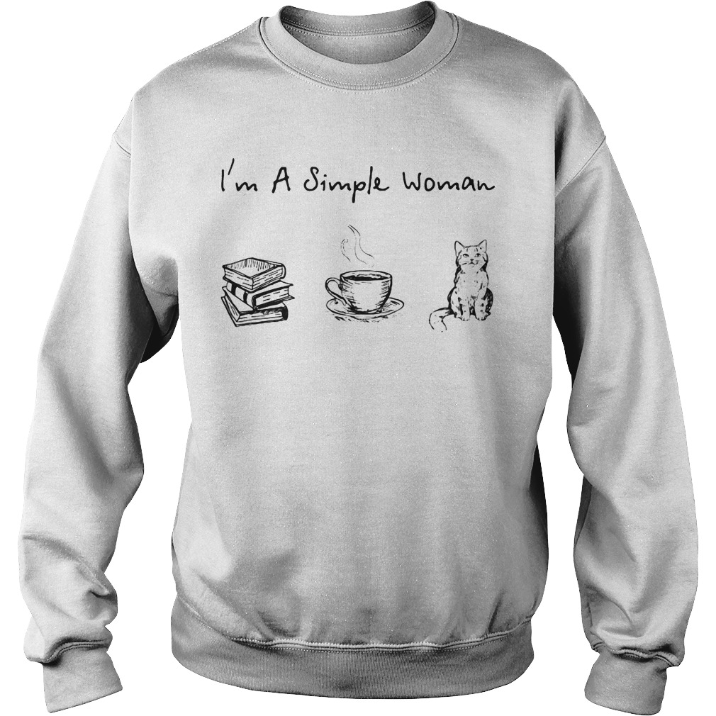 I'm a simple woman I like book coffee and cat Sweater