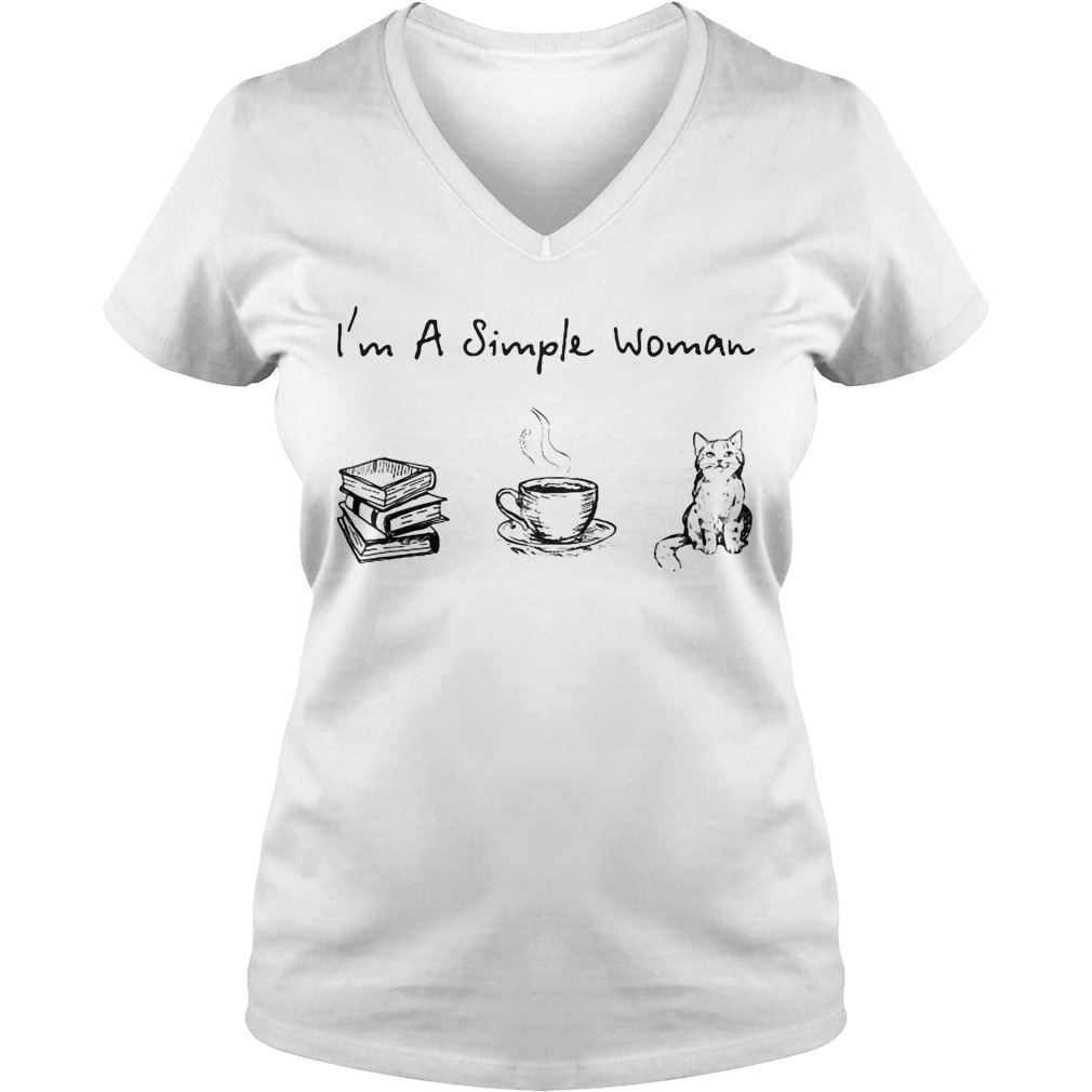 I'm a simple woman I like book coffee and cat V-neck t-shirt