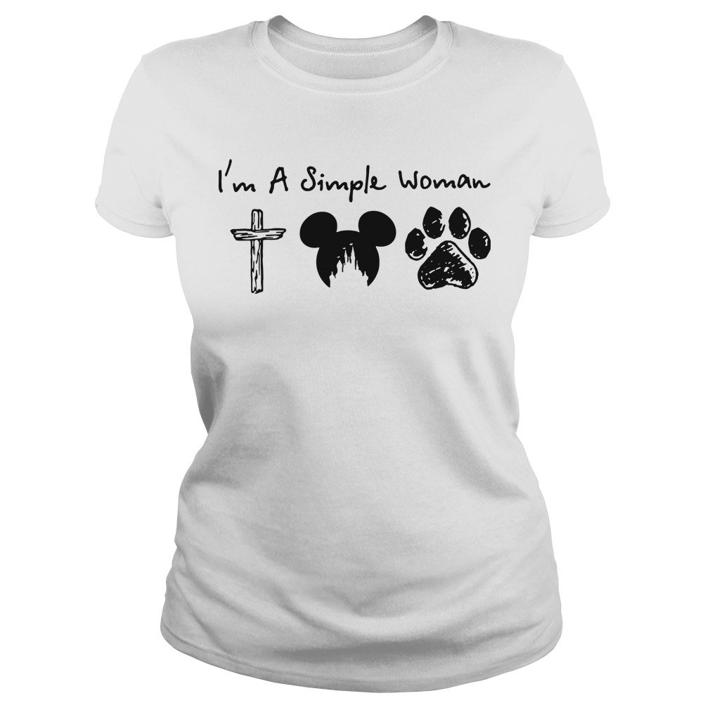 I'm a simple woman I like cross mickey mouse and paw dog Ladies tee