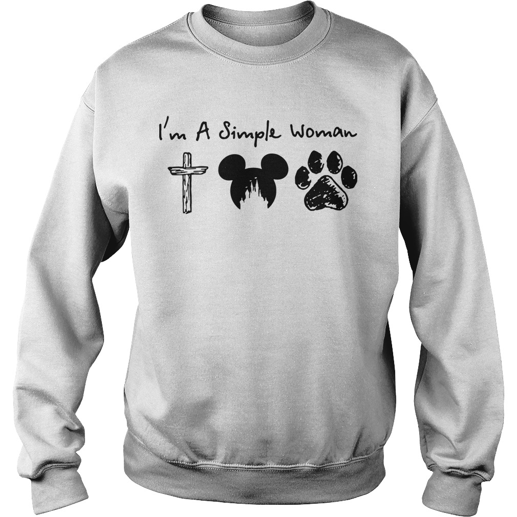 I'm a simple woman I like cross mickey mouse and paw dog Sweater