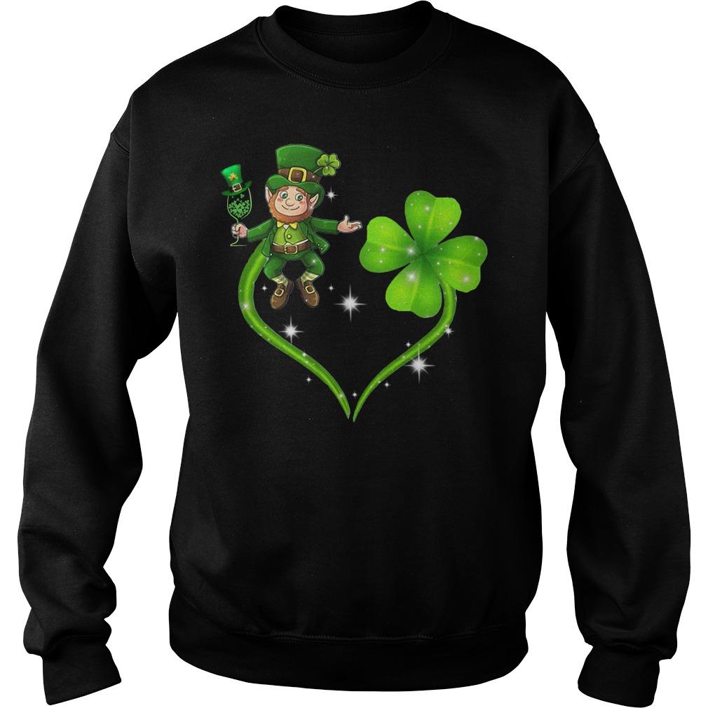 Leprechaun wine heart Irish St. Patrick Day Sweater