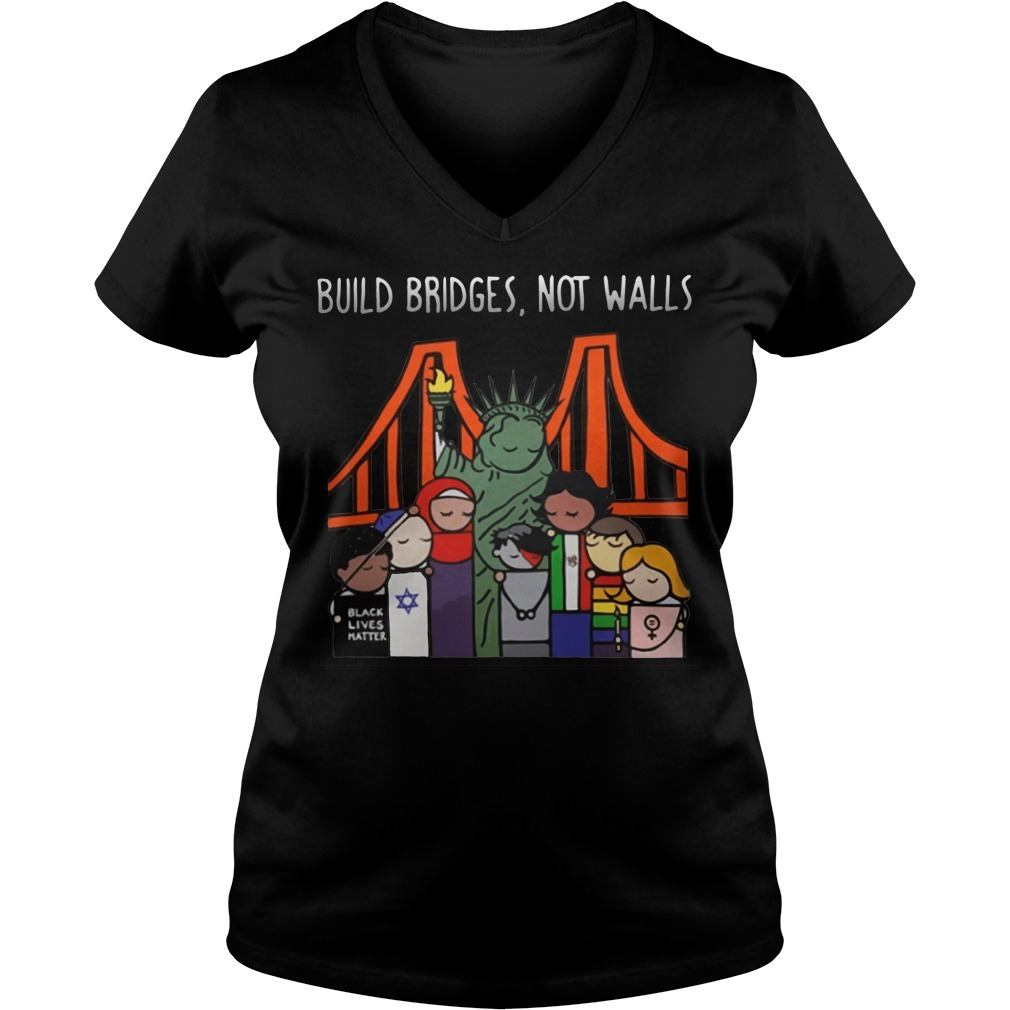 Liberty for all by Bren Bataclan build bridges not walls V-neck T-shirt