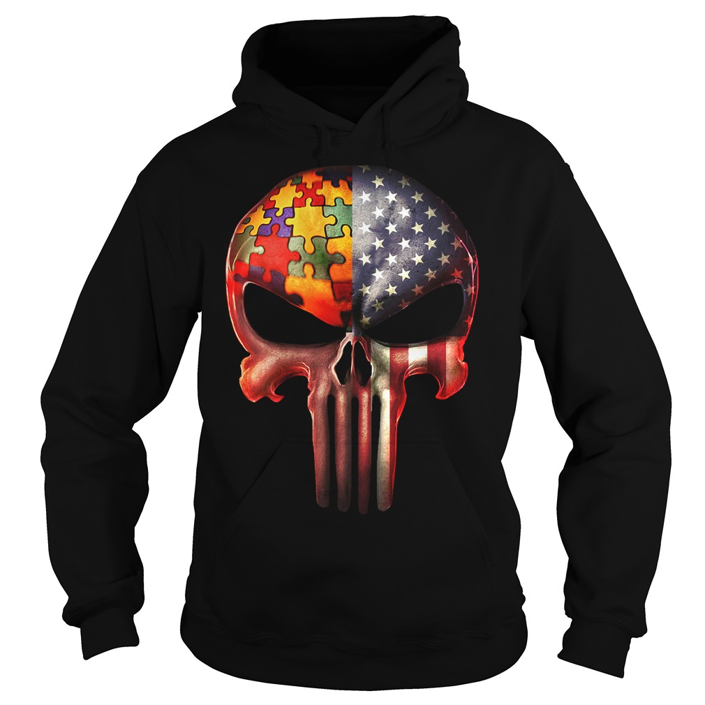 The Punisher American flag Skull and Autism Hoodie