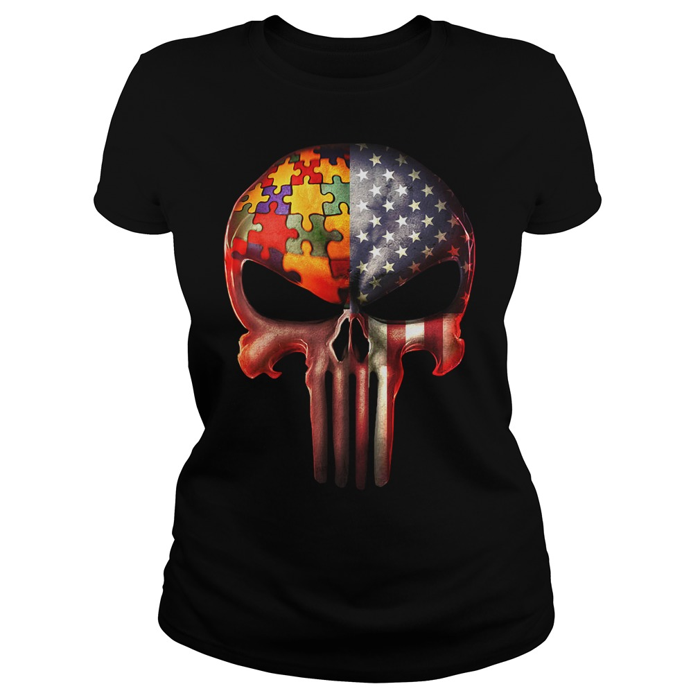The Punisher American flag Skull and Autism Ladies tee