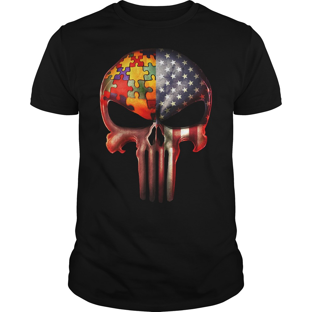 The Punisher American flag Skull and Autism shirt
