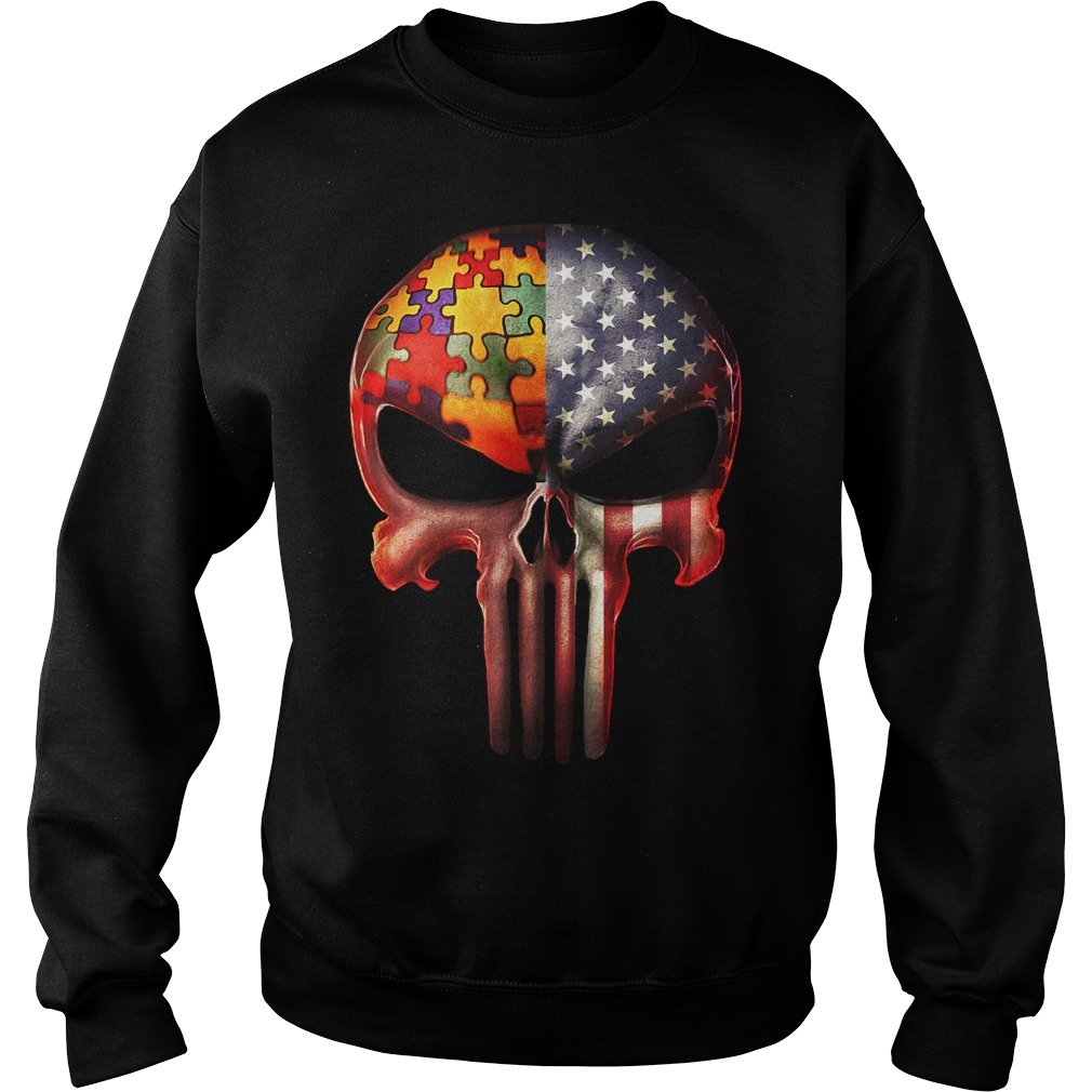 The Punisher American flag Skull and Autism Sweater
