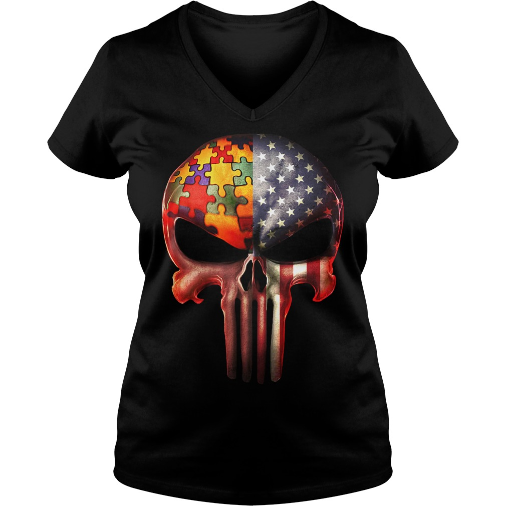 The Punisher American flag Skull and Autism V-neck t-shirt