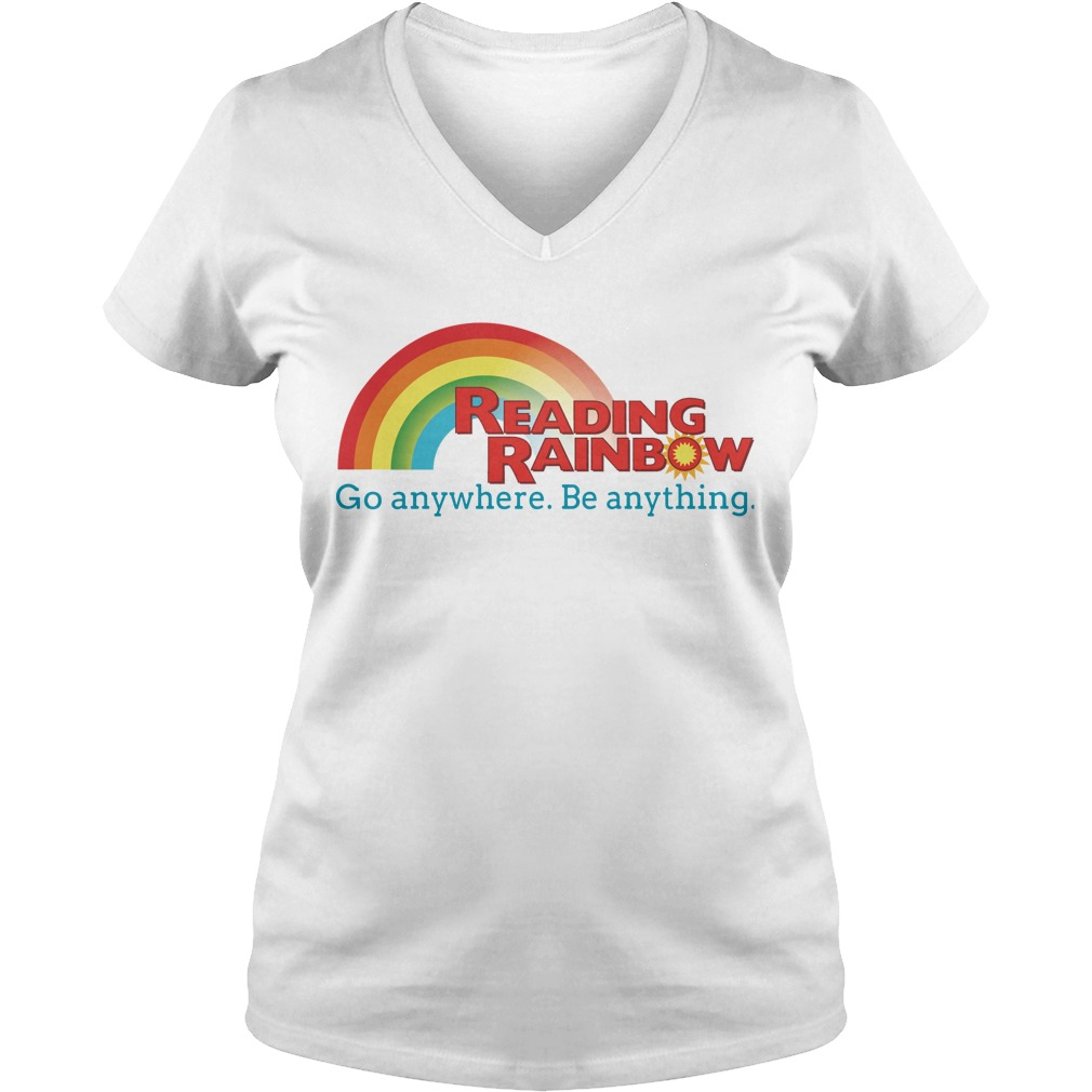 Reading rainbow go anywhere be anything V-neck t-shirt