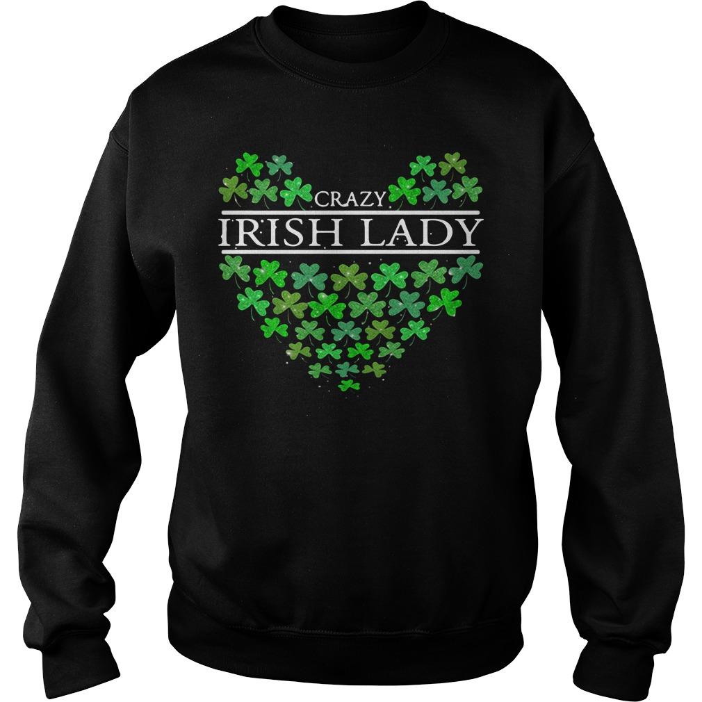 St. Patrick's Day Crazy Irish Lady Heart Sweater